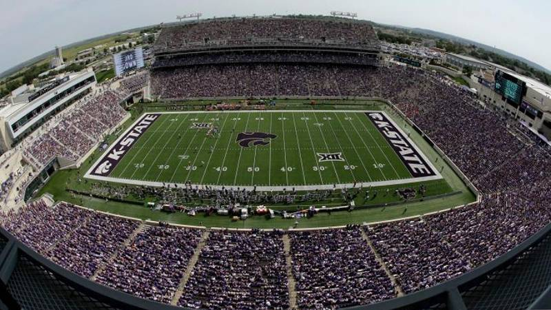 FILE - This Sept 7, 2019, file photo shows fans filling Bill Snyder Family Stadium during the...
