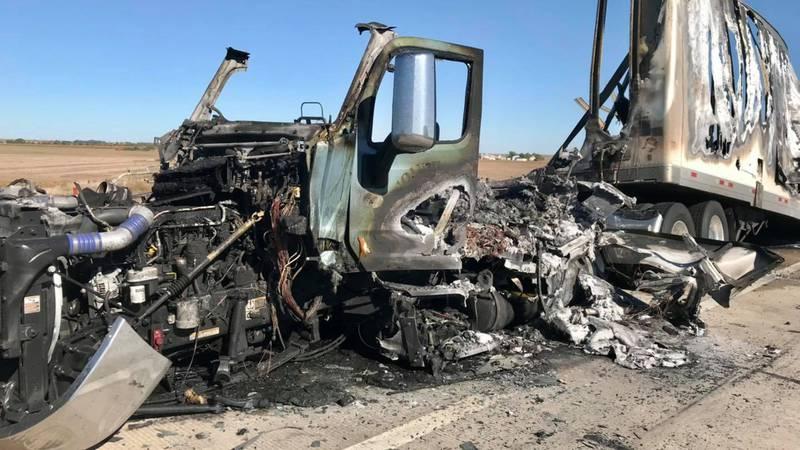 Semi-crash, fire closes highway 40 near Hays on Sunday