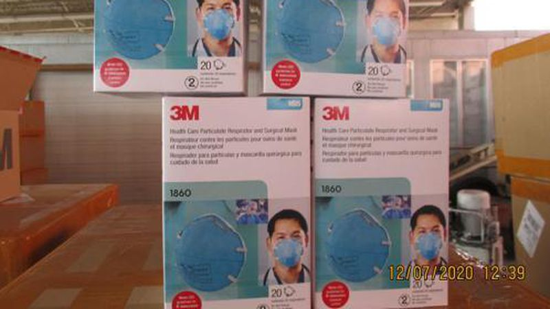Federal agents seized more than 100,000 counterfeit N95 masks in Texas.