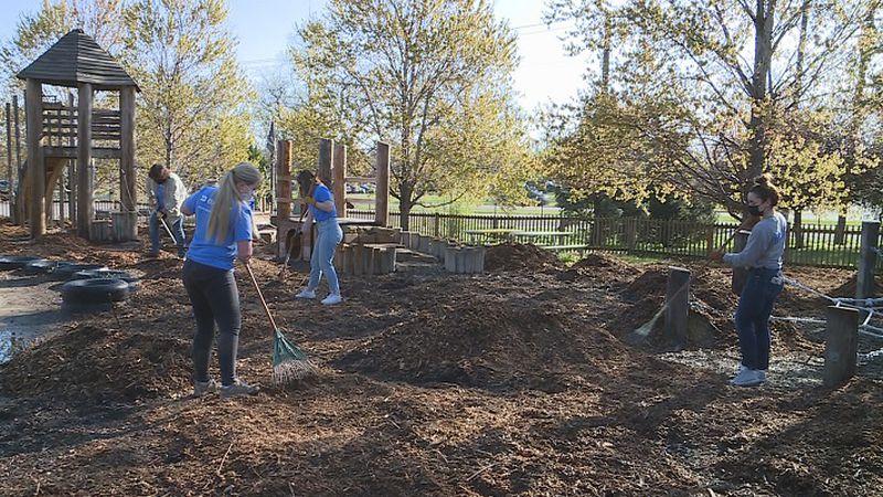 Evergy volunteers helped clean up the Topeka Zoo on Friday.