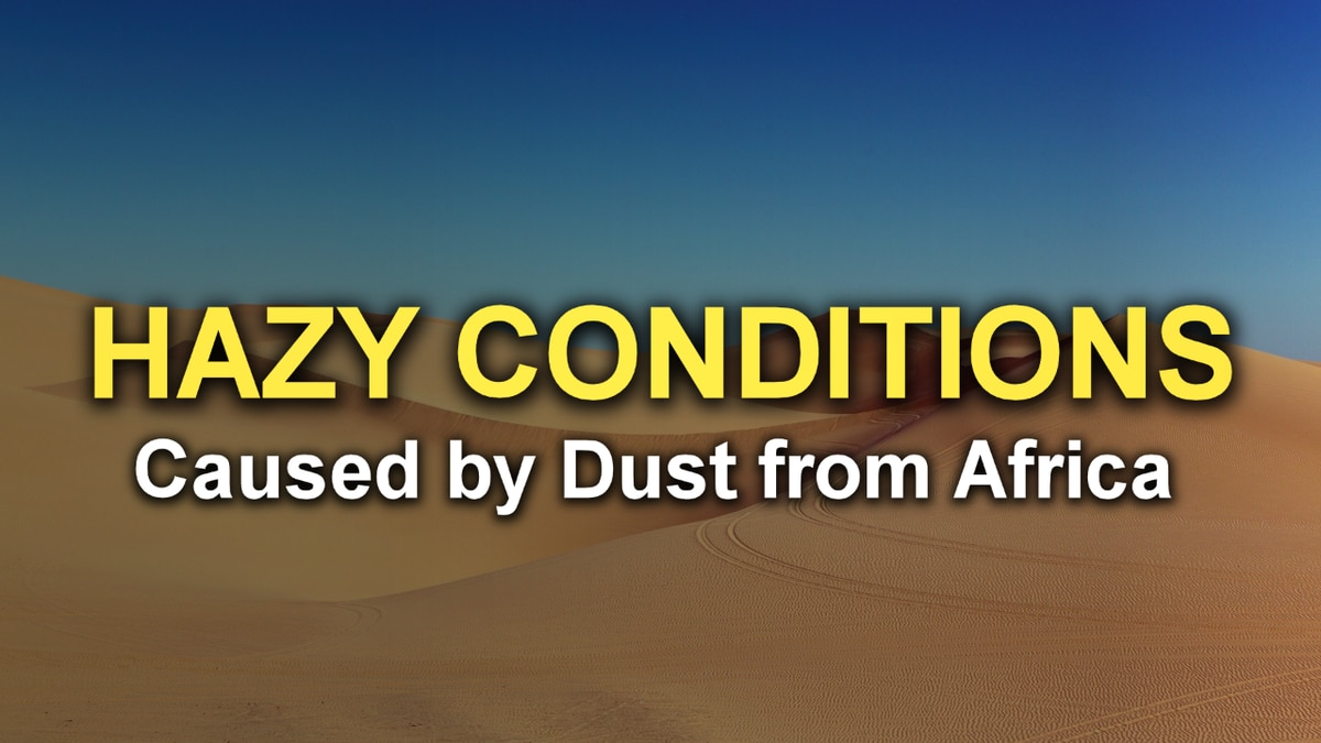Hazy conditions in eastern Kansas Sunday were caused by dust from the Sahara Desert.