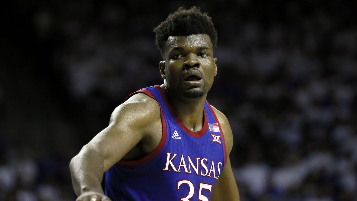 Kansas center Udoka Azubuike stands on the free throw line during an NCAA college basketball game against Baylor on Saturday, Feb. 22, 2020, in Waco, Texas. Kansas won, 64-61. (AP Photo/Ray Carlin)