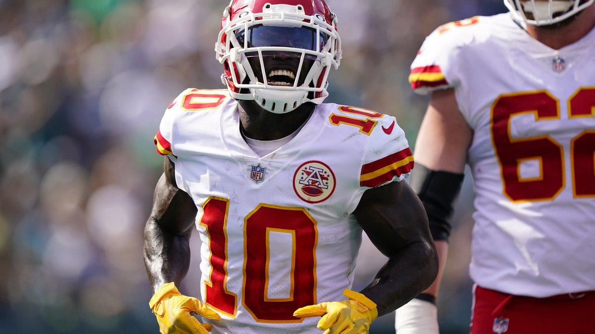 Kansas City Chiefs wide receiver Tyreek Hill (10) celebrates his touchdown during the first...