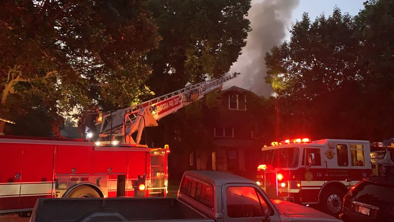Crews are on the scene of a house fire early Wednesday near downtown Emporia.