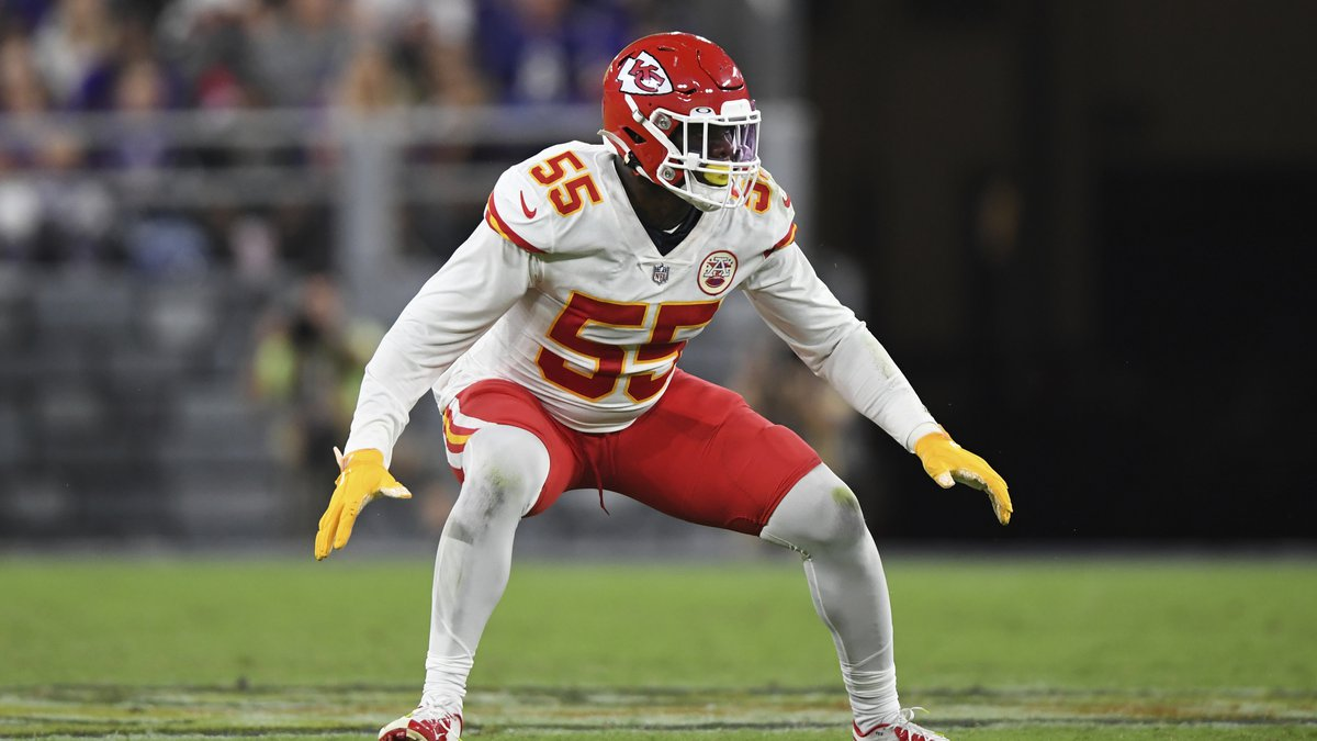 Kansas City Chiefs defensive end Frank Clark (55) in action during the second half of an NFL...