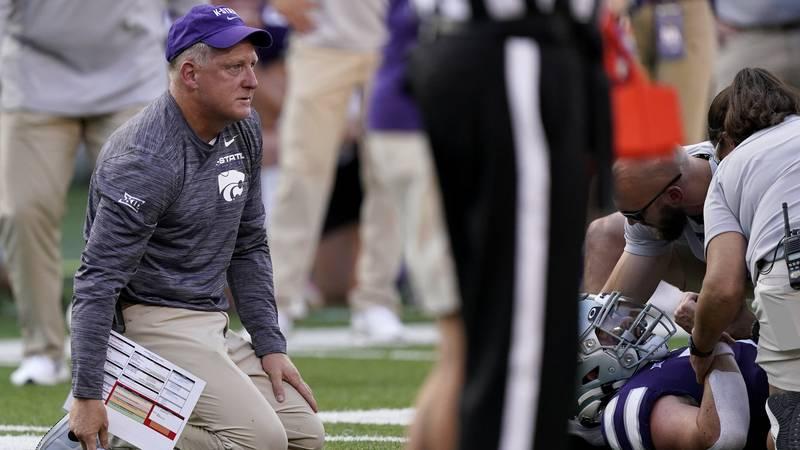 Kansas State head coach Chris Klieman watches as Kansas State quarterback Skylar Thompson was...