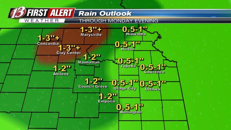 Forecast rain amounts through Monday evening.