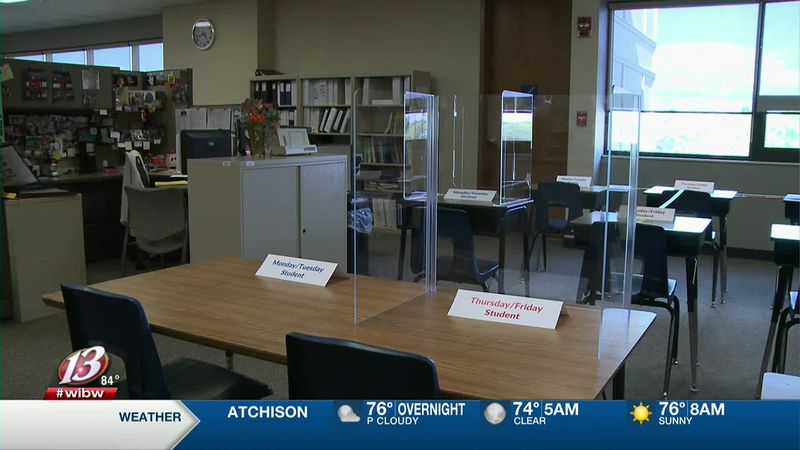 Topeka Public Schools has set up a model of what a classroom might look like with COVID-19...