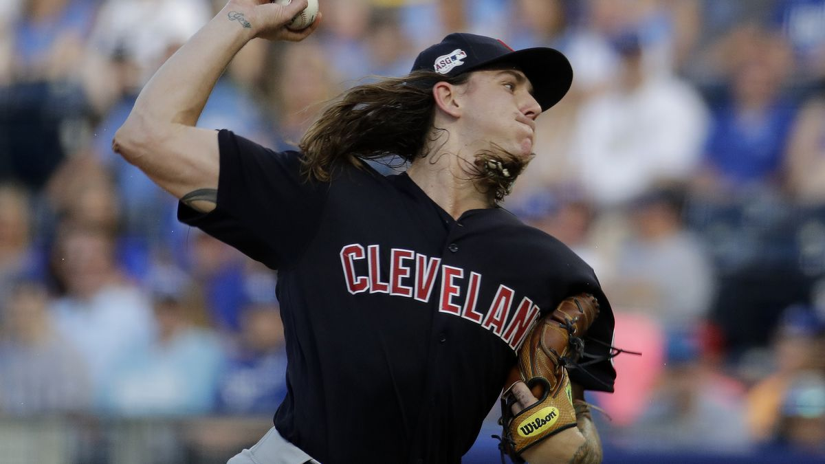Cleveland Indians starting pitcher Mike Clevinger throws during the first inning of the team's baseball game against the Kansas City Royals on Wednesday, July 3, 2019, in Kansas City, Mo. (AP Photo/Charlie Riedel)