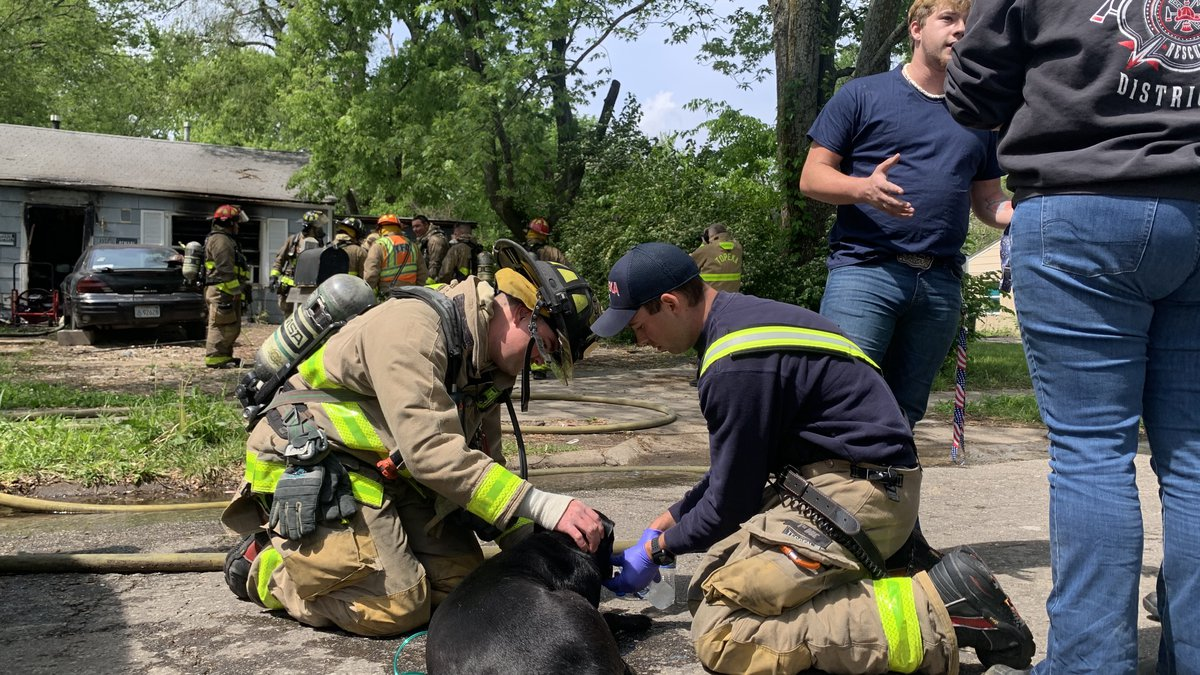Crews work to save a dog from a house fire at 3517 SE Girard St. on May 5, 2021.