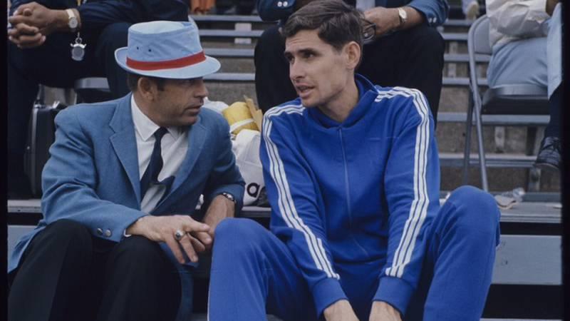 1960s Jim Ryun with his KU track coach Bob Timmons.<br />Photo: &amp;copy; Rich Clarkson / Rich...