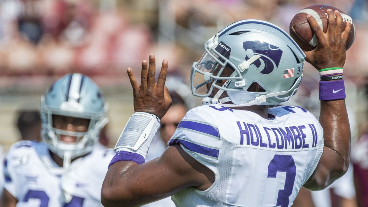 Kansas State quarterback John Holcombe II (3) warms up before an NCAA football game on Saturday, Sept. 14, 2019 at Mississippi St. in Starkville, Miss. (AP Photo/Vasha Hunt)