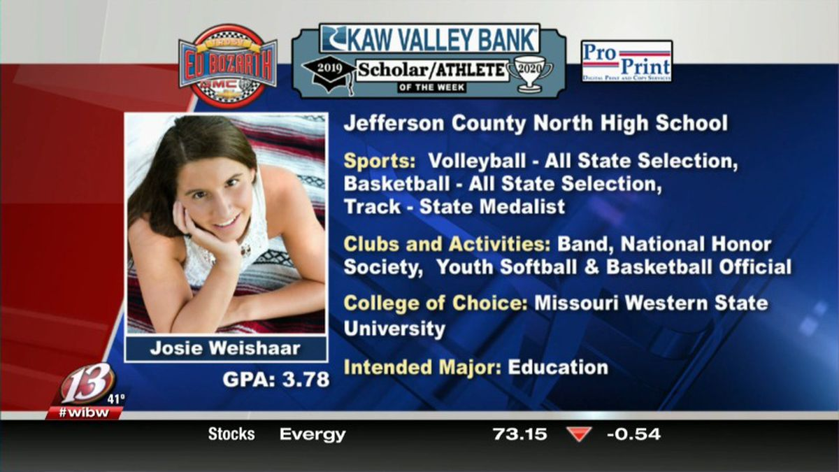 This week's Scholar-Athlete of the Week sponsored by Kaw Valley Bank is Josie Weishaar. The Jefferson County North multi-sport star holds a 3.78 GPA.