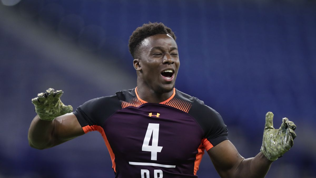 Washburn defensive back Corey Ballentine runs a drill at the NFL football scouting combine in...