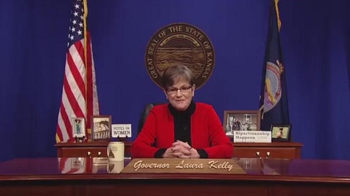 This screenshot shows Gov. Laura Kelly, D-Kansas, delivering her State of the State address...