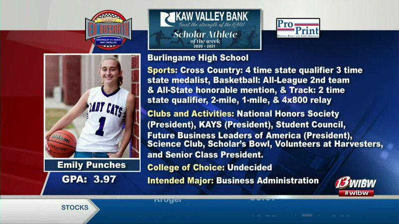 "This week's Kaw Valley Bank Scholar-Athlete of the Week is Emily ""Emmy"" Punches from..."