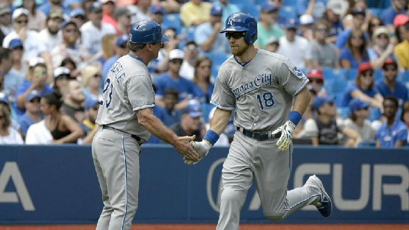 FILE - Ben Zobrist hits a home run for the Kansas City Royals