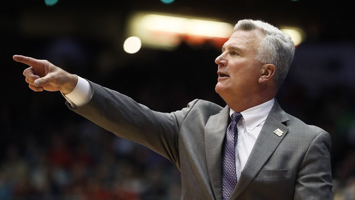 Kansas State head coach Bruce Weber directs his players from the bench in the first half of a First Four game of the NCAA college basketball tournament against Wake Forest, Tuesday, March 14, 2017, in Dayton, Ohio. (AP Photo/John Minchillo)