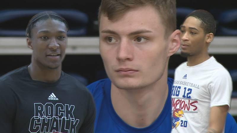 Kansas men's basketball players Christian Braun, David McCormack, and Dajuan Harris were at...