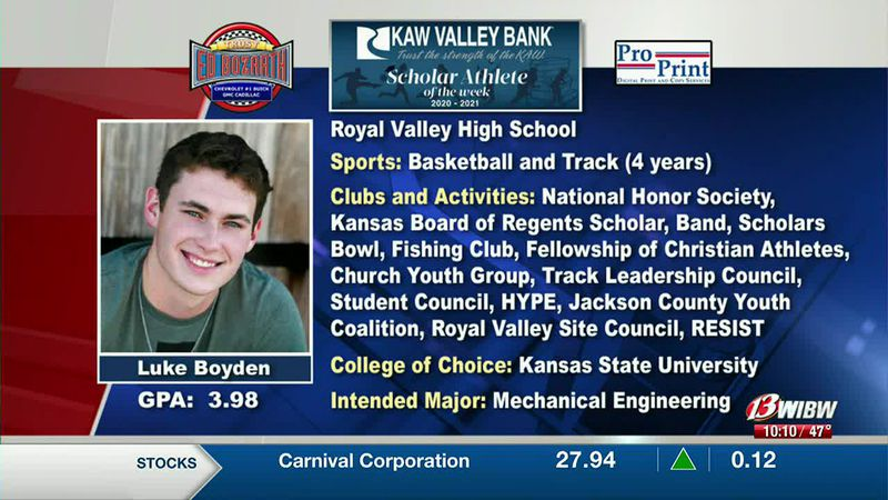 his week's Scholar-Athlete of the Week is Royal Valley's Luke Boyden.