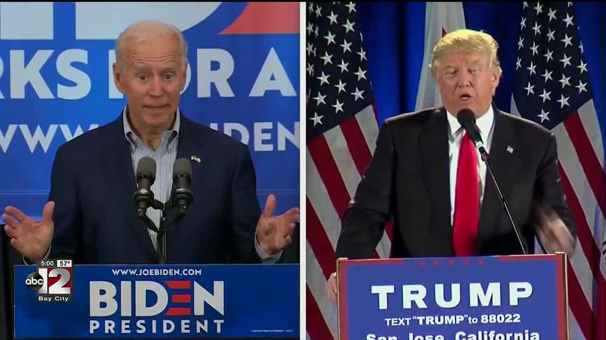 Joe Biden, left and President Donald Trump, right.