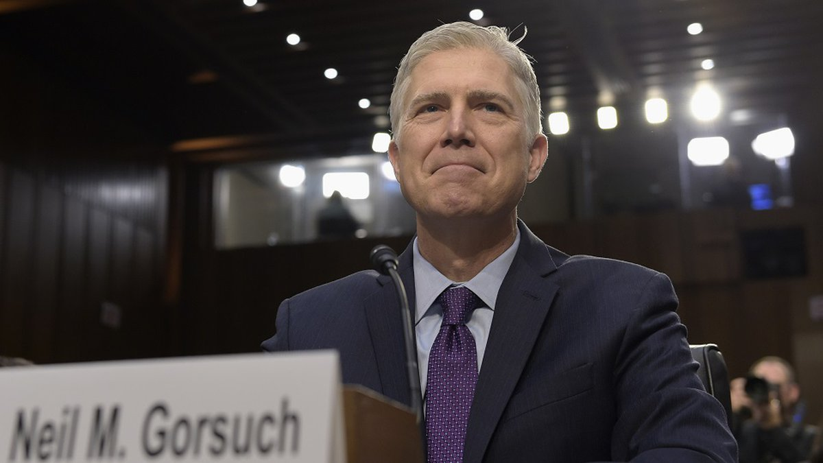 Supreme Court Justice nominee Neil Gorsuch prepares to testify on Capitol Hill in Washington,...