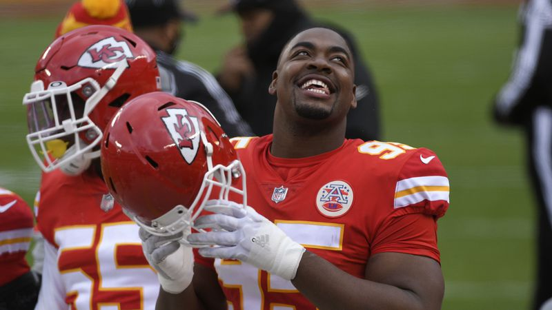 Kansas City Chiefs defensive tackle Chris Jones reacts on the sideline during the first half of...