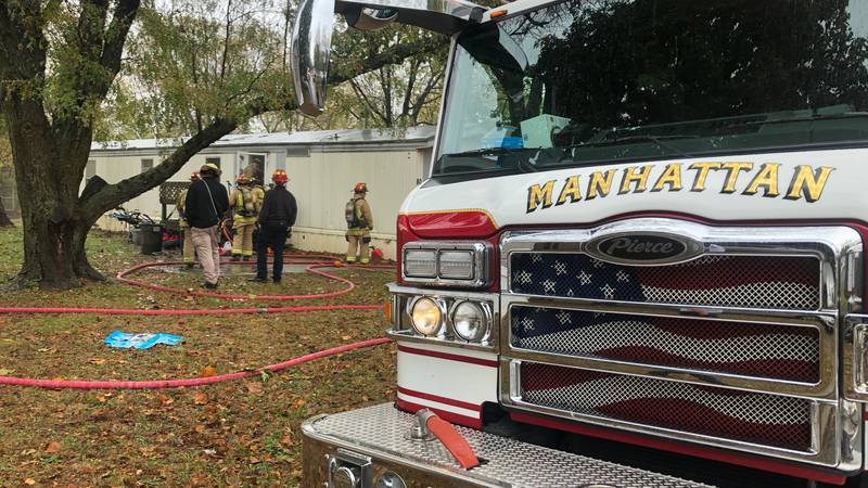 Crews respond to a mobile home fire on Wednesday, Oct. 27, 2021.