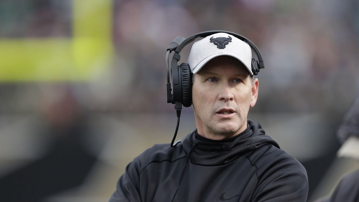 FILE - In this Nov. 19, 2016, file photo, Buffalo head coach Lance Leipold walks the sidelines...