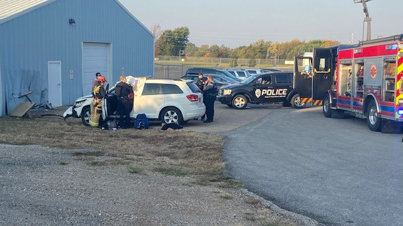 No children were injured after a vehicle ran into a building on the grounds of a Topeka...