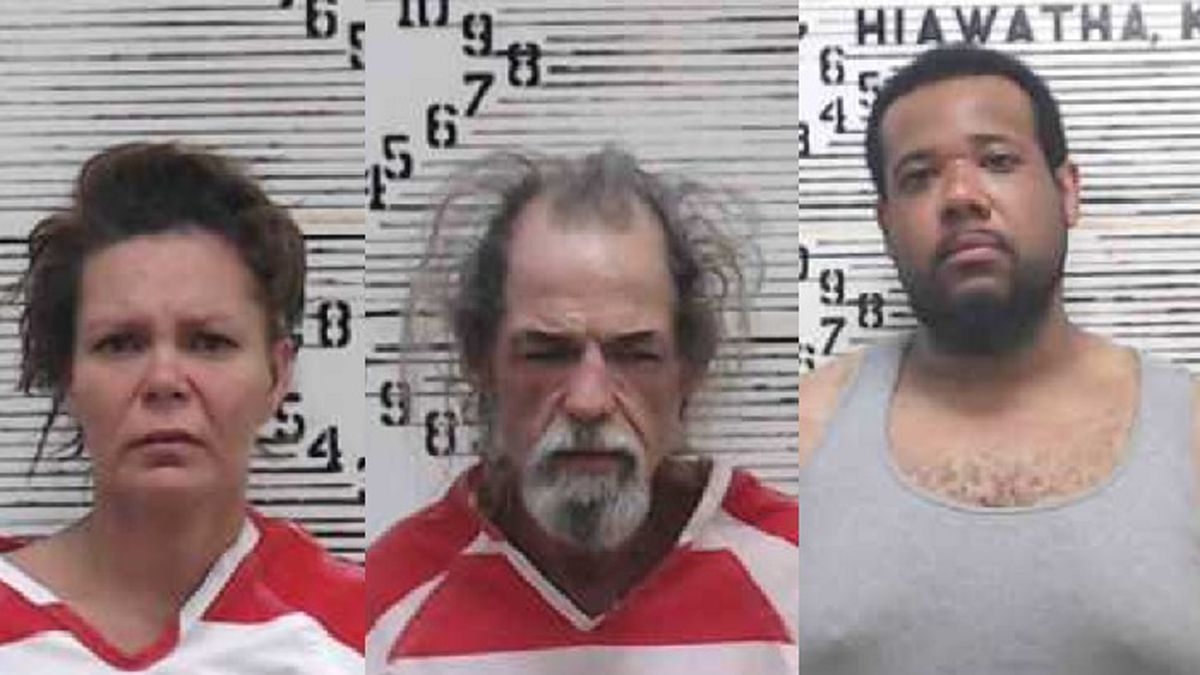 In order from left to right: Sara Hurt (36) and Robert Kirk (57) were arrested after a traffic stop. Avery Stewart (28) was arrested after a search warrant was conducted.