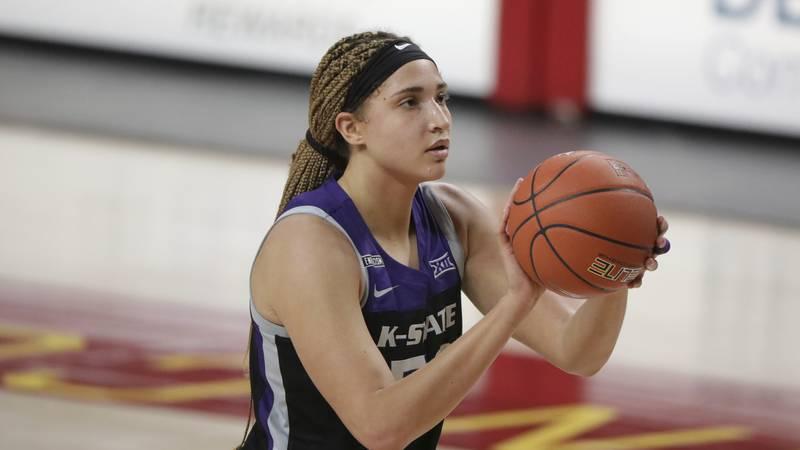 Kansas State's Ayoka Lee shoots a free throw during an NCAA basketball game on Friday, Dec. 18,...
