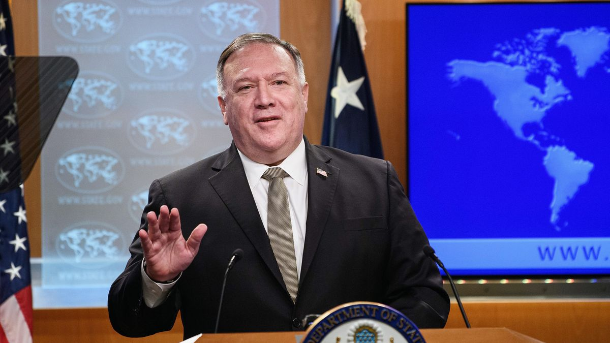 Secretary of State Mike Pompeo speaks during a news conference at the State Department in Washington, Wednesday, Sept. 2, 2020.