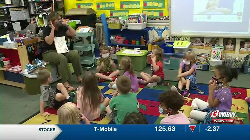 A Randolph Elementary School teacher is showing her students the basics of American Sign Language