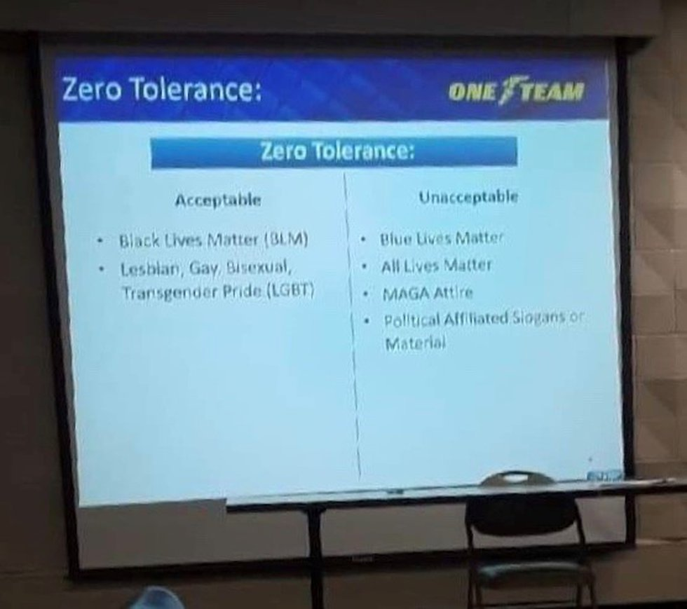 Slide that was presented during a diversity training showing what's acceptable and what isn't...