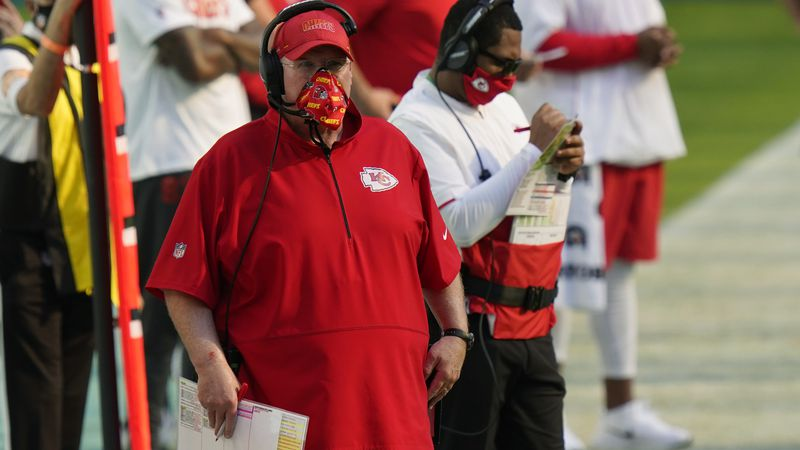 Kansas City Chiefs head coach Andy Reid watches his team during the first half of an NFL...