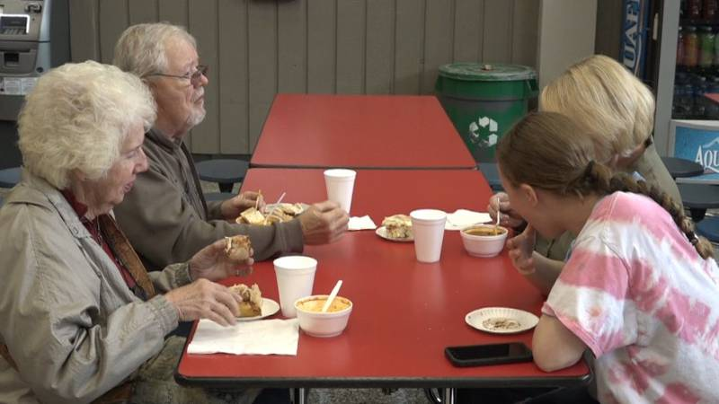 People enjoy chili served by Soldier Twp. Fire Department.