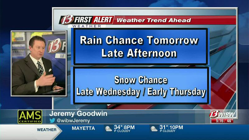 Snow chance tomorrow night and Thursday morning