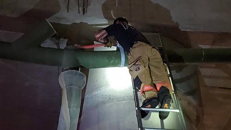 The Topeka Fire Dept. said crews rescued a kitten stuck inside a storm drain along the...