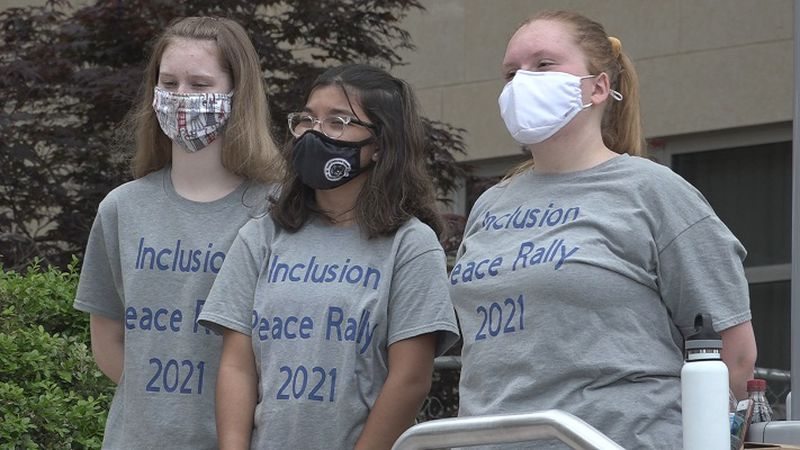 High school students organize inclusion peace rally at city hall