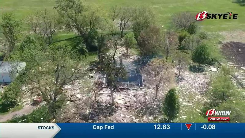 13 SKY EYE caught drone footage of the home explosion site after a fire rekindled there...