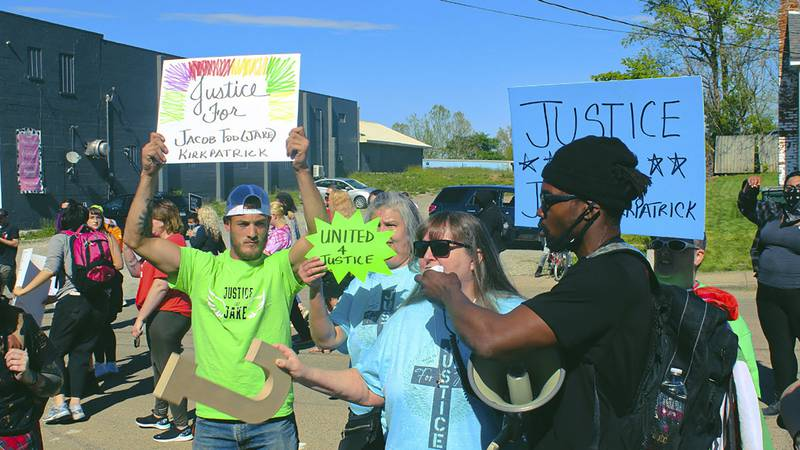 FILE - In this May 14, 2021, photo provided by Jeremiah Choka, about 100 racial justice...