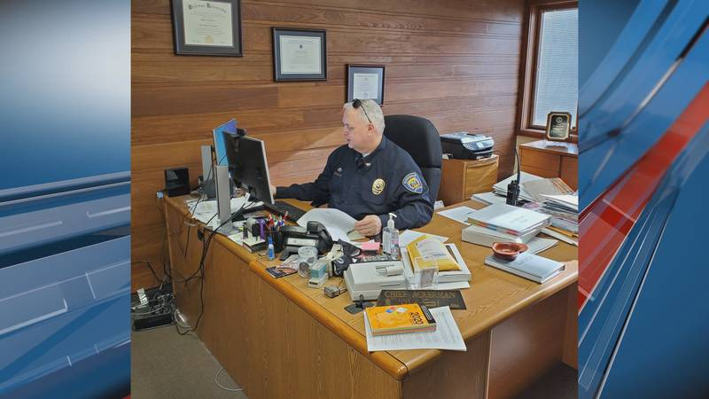 Todd Ackerman, former Marysville Chief of Police, sits at the desk he's occupied for the last...