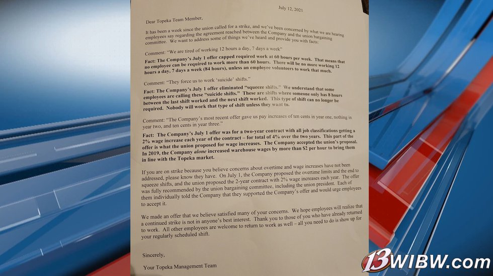 A letter sent to Frito-Lay team members regarding Union negotiations on July 12, 2021.
