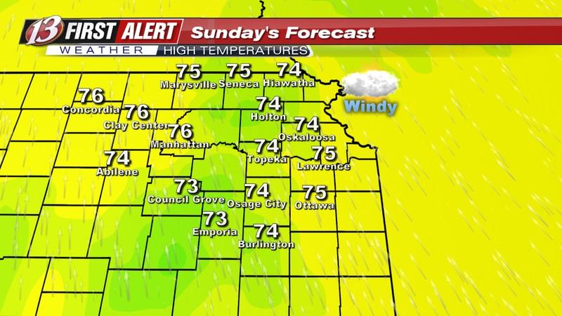Forecast high temperatures Sunday.