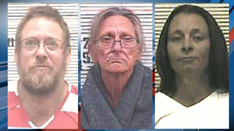 From left to right, Roger Teske, Jane Teske, and Tammy Snethen were arrested July 18, 2021 for...
