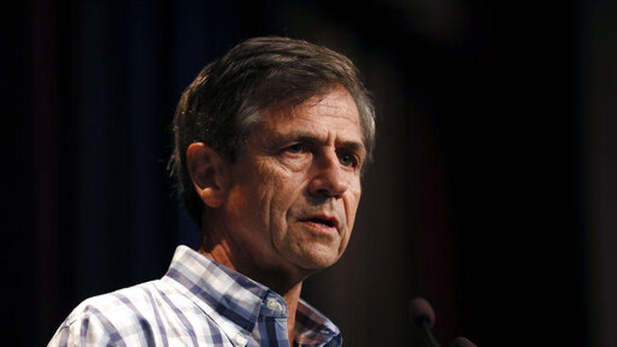 Democratic presidential candidate Joe Sestak speaks at the Iowa Federation of Labor convention, Wednesday, Aug. 21, 2019, in Altoona, Iowa. (AP Photo/Charlie Neibergall)