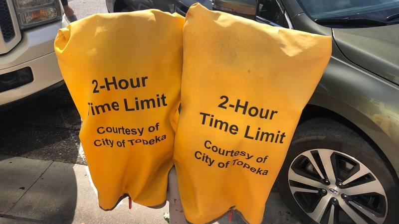 Downtown Topeka Parking Meter Hoods