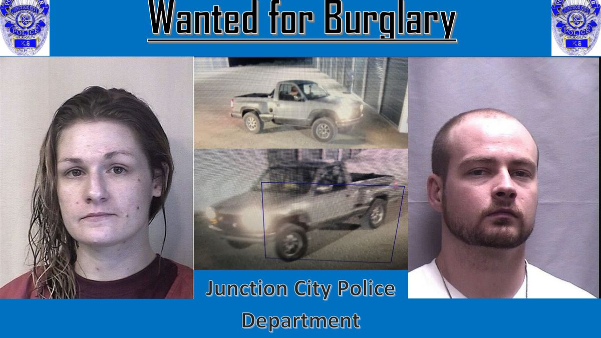Patrick Arrow and Jamie Berges are being sought by the Junction City Police Department in relation to a string of recent burglaries.