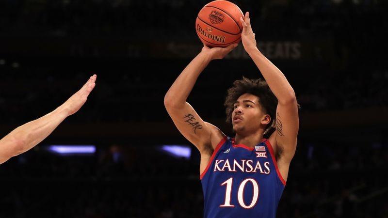 Kansas forward Jalen Wilson (10) in action against Duke during the first half of an NCAA...